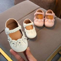 2018 Toddler Baby Girls Soft Sole Princess Flower Leather Si