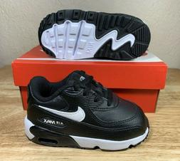Nike Air Max 90 Leather Baby Shoes Toddler Size 6C Black Whi