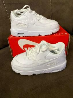 Nike Air Max 90 Leather  White Sneakers #833416 100 TODDLER