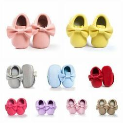 Baby Kid Tassel Soft Sole Leather Shoes Infant Boy Girl Todd