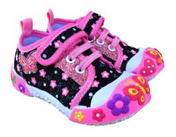 Baby Toddler Girl Shoes Size 5 Chulis Black Pink Sneakers