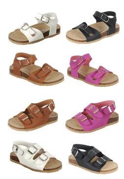 Baby Toddler Girls  Double -Strap Cork-Bed Open Toe Sandals