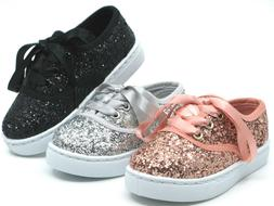 Baby Toddler Girls Glitter Lace Up Fashion Shoes Casual Snea