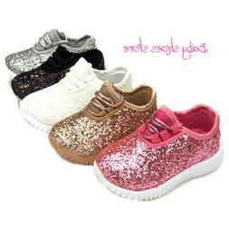 Baby Toddler Girls Glitter Sneakers Shoes Size 4-9