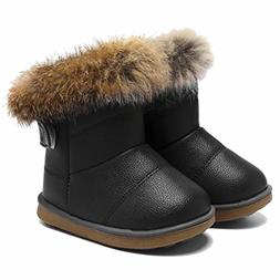 CIOR Fantiny Toddler Girl's Winter Snow Boots Fur Outdoor Sl