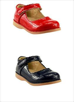 Girl's School Dress Classic Shoes Glossy Red or Navy Mary Ja