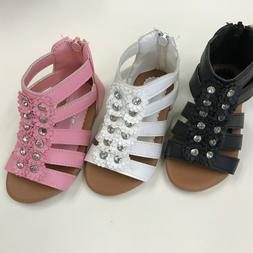Girls Toddler Zipper Gladiator Plate Sandals Shoes size 5-10