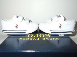 Polo Ralph Lauren ~ Infant Toddler Kids White Shoes Low Top