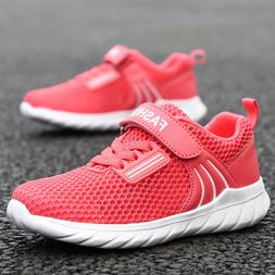 Kids Girls Breathable Knit Sneakers Lightweight Mesh Athleti