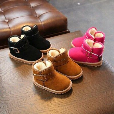 Kids Baby Girl Winter Boots Shoes Toddler Infant Cotton Soft