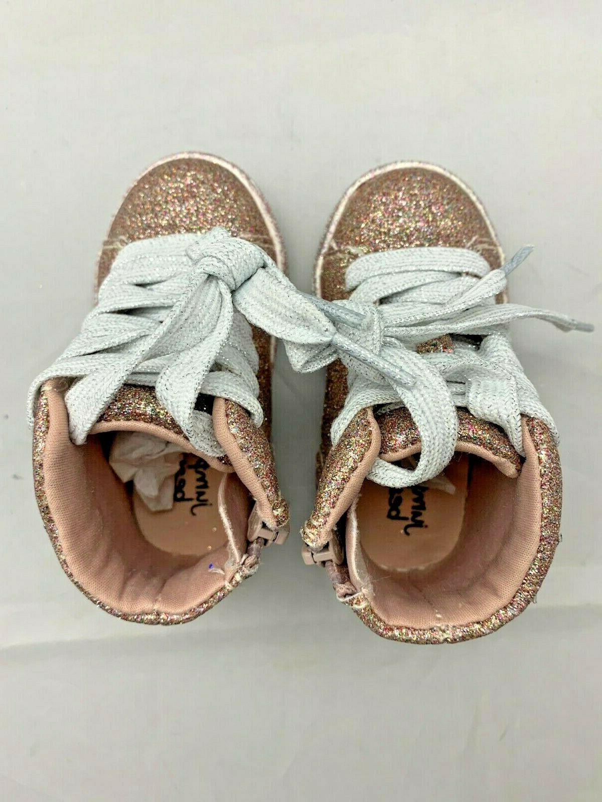 5T BEANS $40 Pink Top Shoes Glitter! Toddler Girl