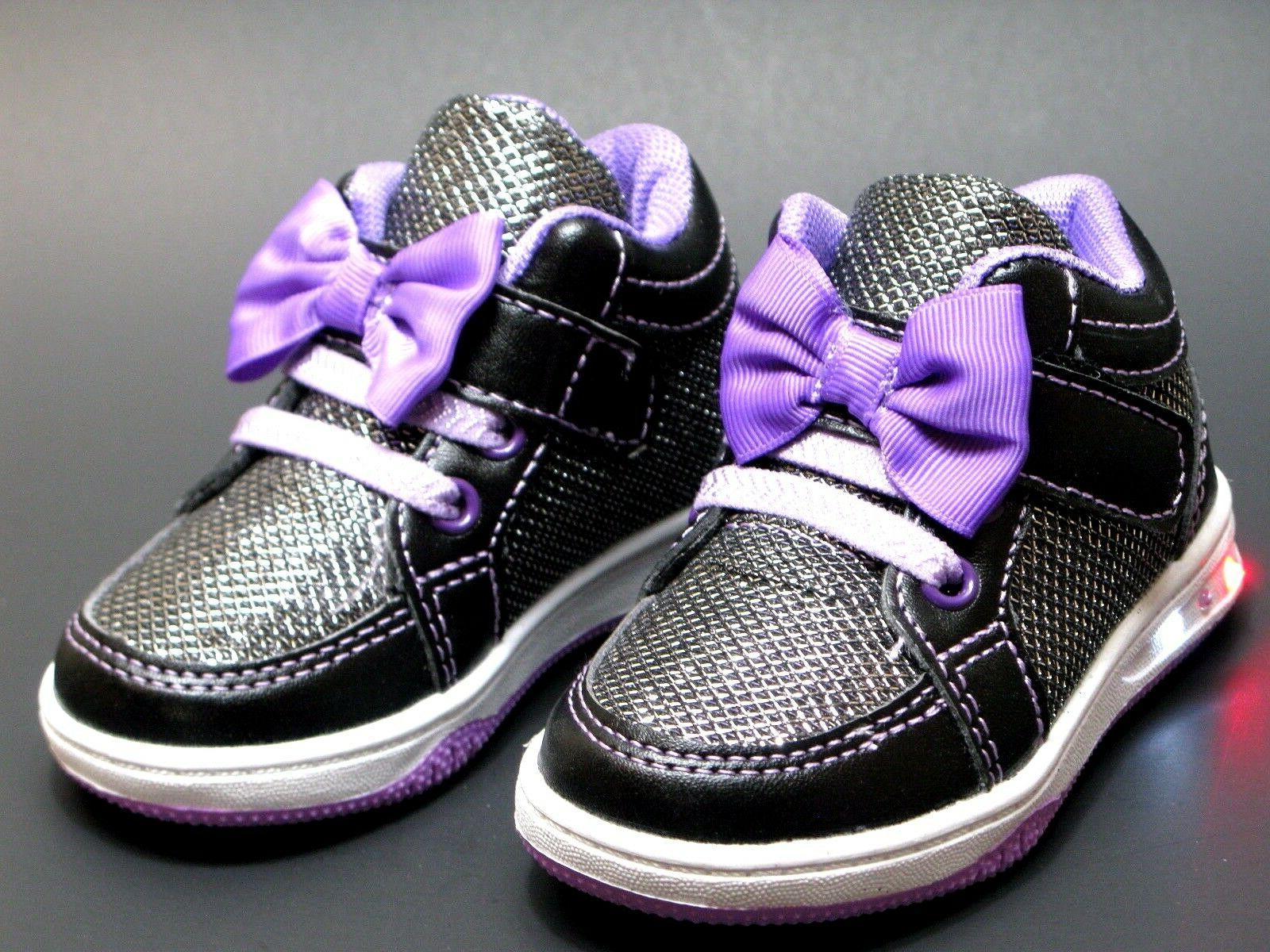 Baby Girls Light Up LED Shoes Easy Off Strap Casual Sneakers