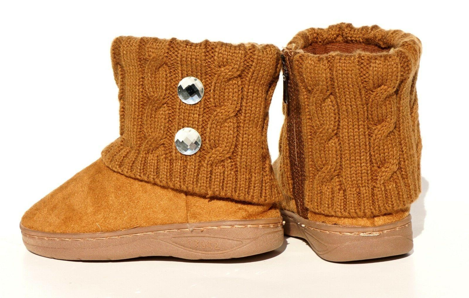 Baby Toddler Winter Suede Rhinestone Boots Knitting Stitching Shoes