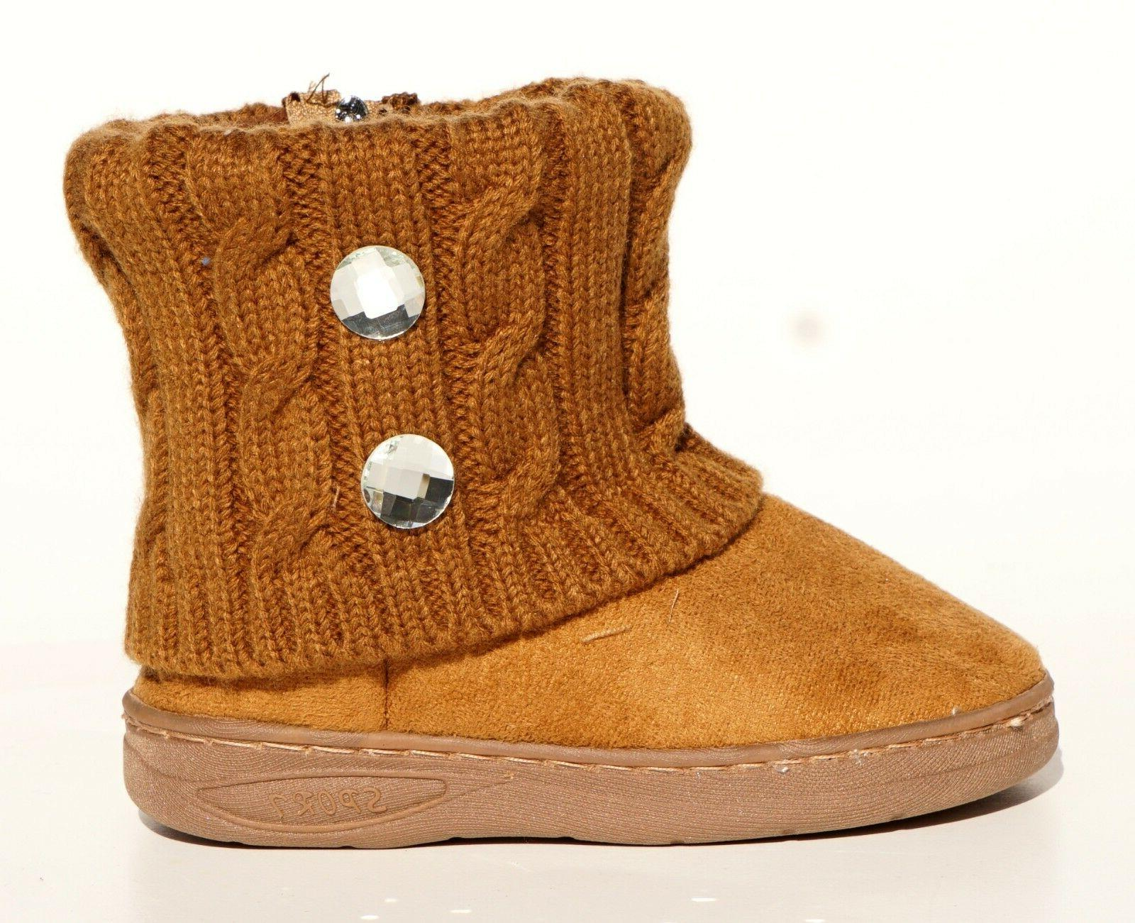 Baby Winter Suede Boots Knitting Stitching Warm