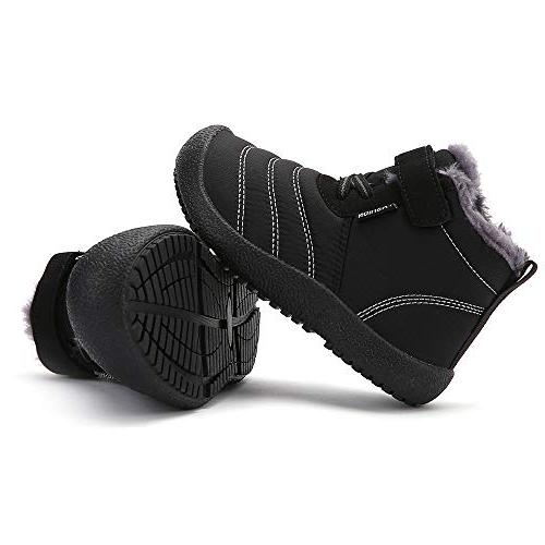 CIOR Boy's Boots Outdoor Slip On Shoes Boots-X.black-28