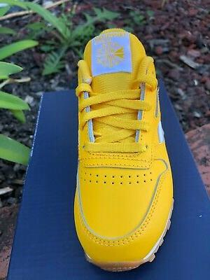 Reebok Leather Yellow Gum Kids Toddler Shoes