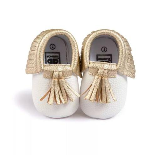 Hot Girl Toddler Tassel Moccasins Soft Sole Crib Shoes