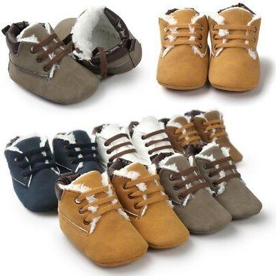 Infant Toddler Baby Winter Warm Shoe Boys Girls Soft Sole Cr