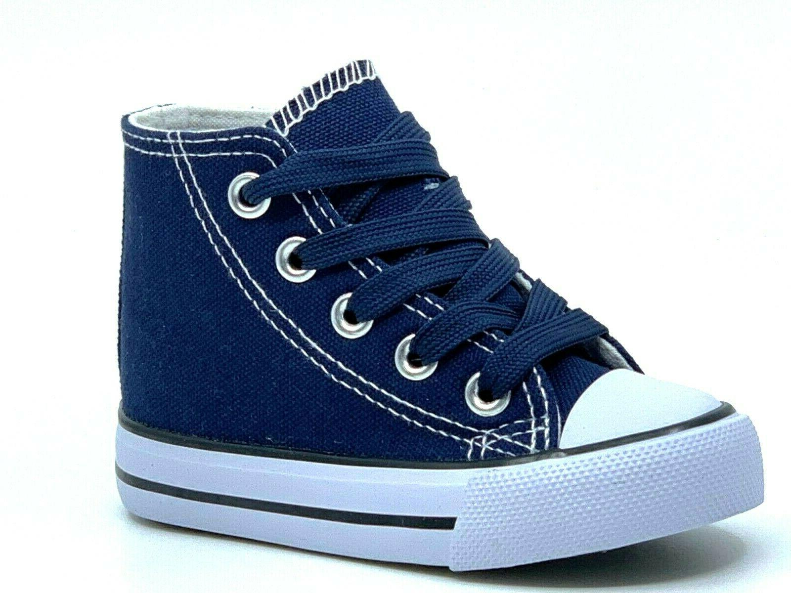 New Lace Up High Top Baby Toddler Girls Boys Canvas Sneakers