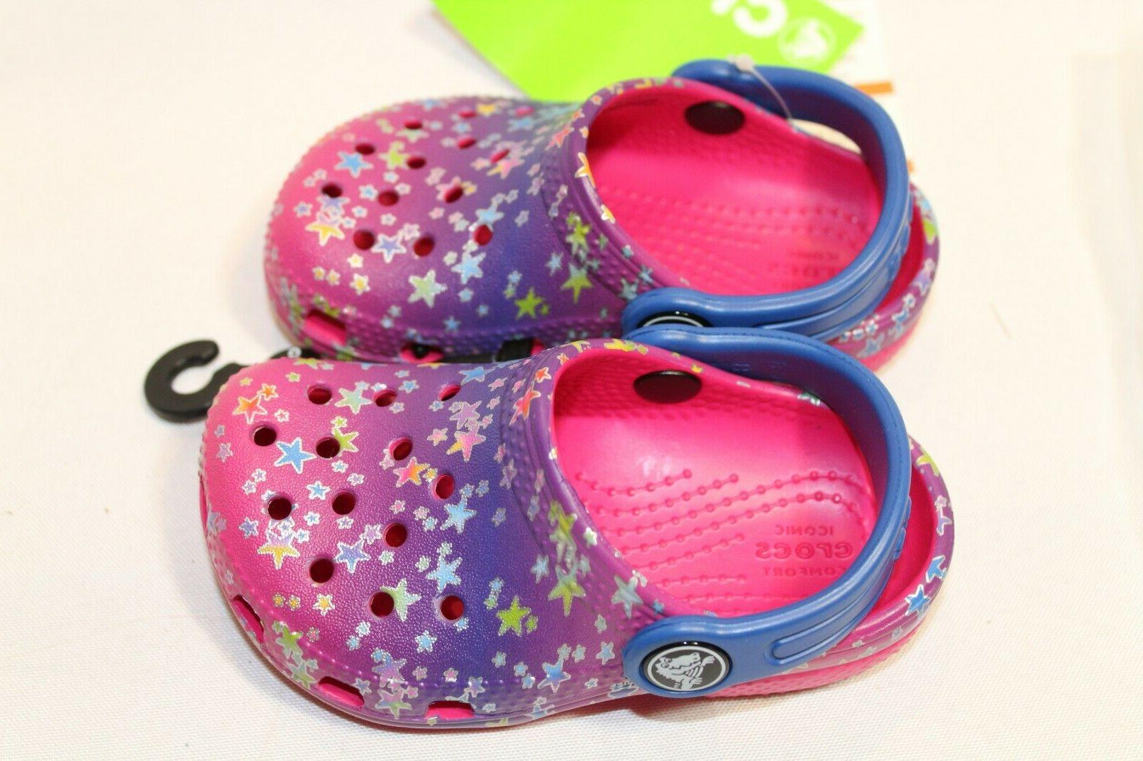 NEW Girls Crocs multi-color pink/blue star