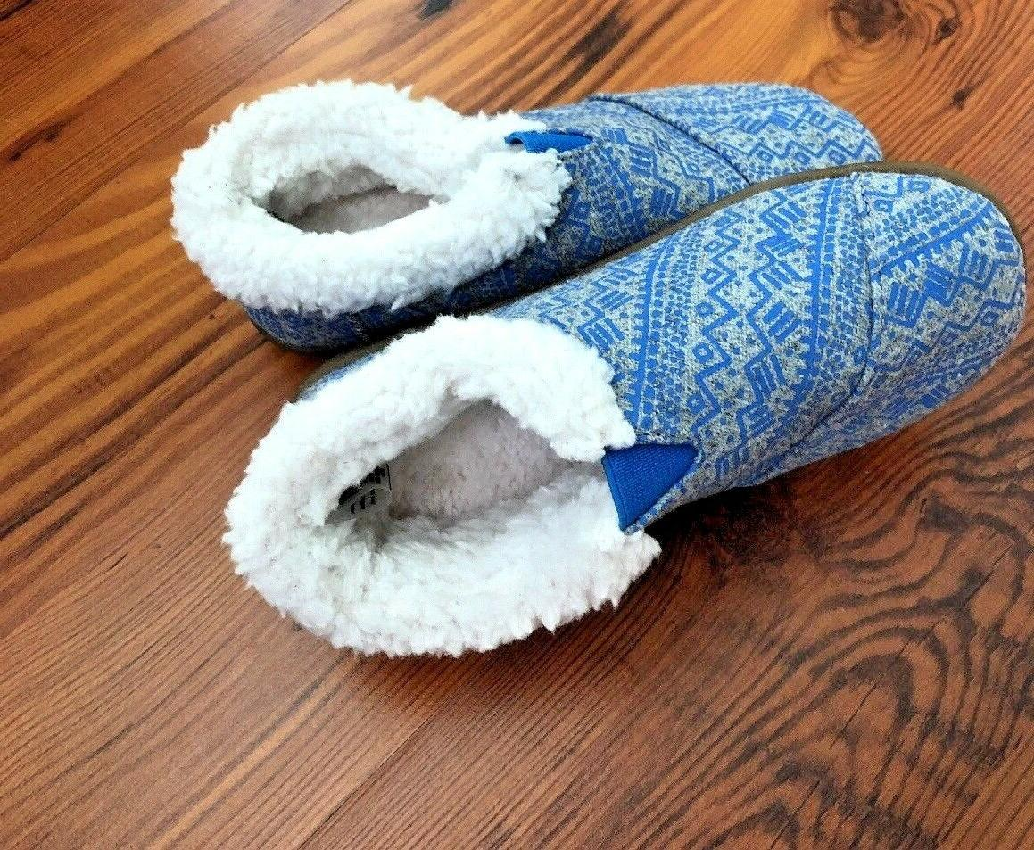 NEW TOMS Toddler Size 10 Blue Grey Tribal Print Native Fur L