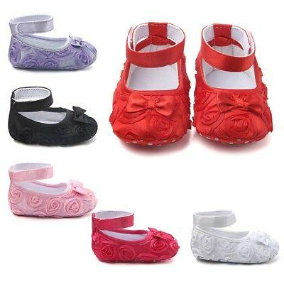 Newborn Baby Shoes Toddler Sole Rose Princess 0-24M