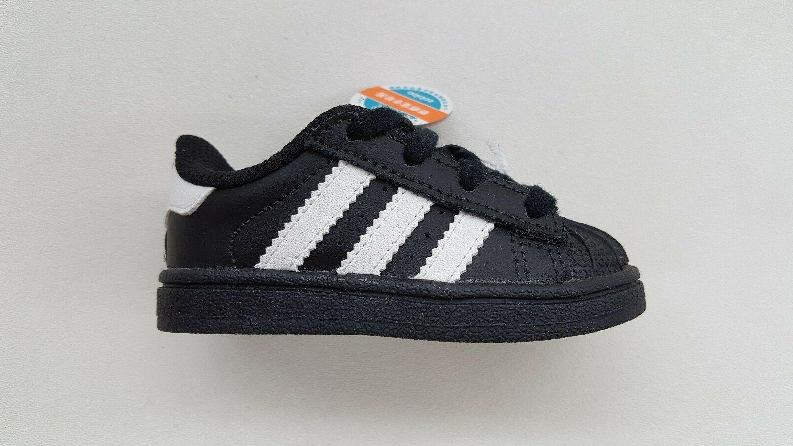 ADIDAS ORIGINALS SUPERSTAR BLACK WHITE TODDLER BABY SIZE SNE