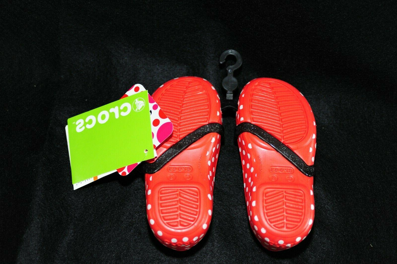 Crocs Red Minnie Polka Dot Toddler 8 Brand New Water Shoes