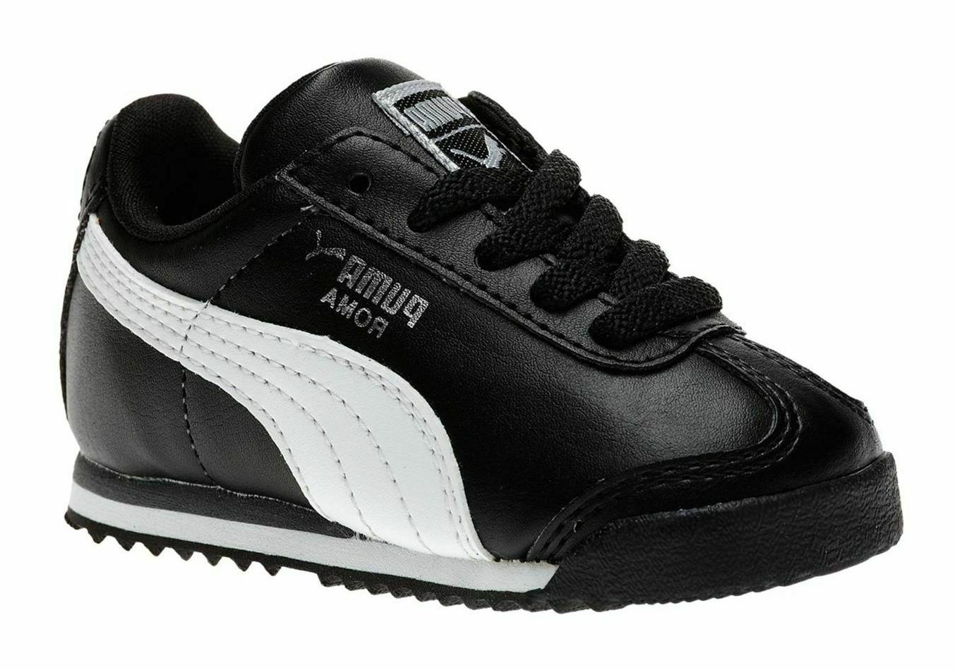 PUMA Roma Black, White, Silver Toddler Kids Sneakers Tennis