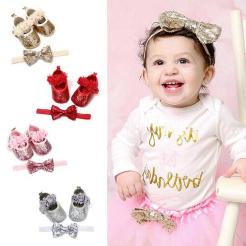 toddler baby girl sequins bowknot crib shoes