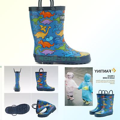 CIOR Toddler Rain Boots Girls Boys Durable PVC & Rubber Kids
