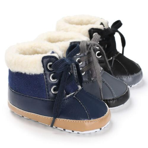 US Newborn Toddler Shoes Baby Boy Ankle Snow Boots Crib Shoe