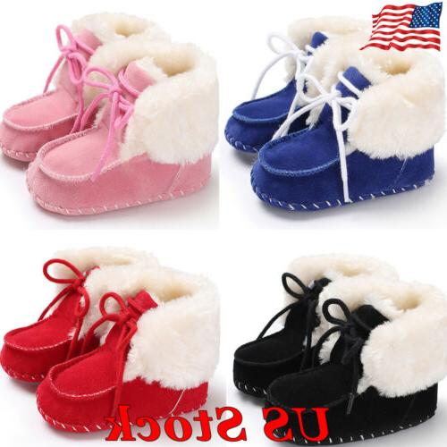 US Winter Toddler Infant Baby Boy Girl Soft Sole Crib Shoes