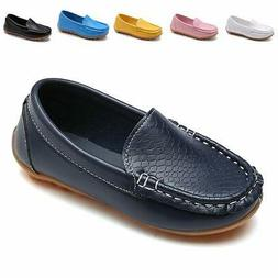 L-RUN Toddler/Little Kid Boys Girls Loafer Leather Shoes wit