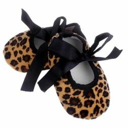LEOPARD ANIMAL PRINT BABY TODDLER KIDS BALLET SHOES SLIPPERS
