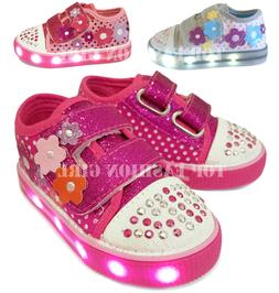 Light Up Girls Baby Toddler Glitter Strap Canvas Sneaker Ten