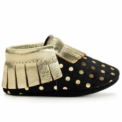 BirdRock Baby Moccasins: Black and Gold | Genuine Leather Mo