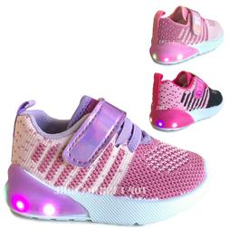 NEW Baby Sneakers Knit Mesh Light Up Shoes Girls Infant Todd
