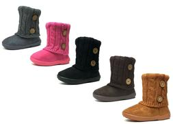 New Kids Boots Toddler Girls Cute 2 buttons Faux Fur Suede K