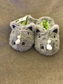 NEW TODDLER BOYS CAT & JACK RHINO MOCCASIN SLIPPERS GRAY WIN