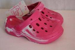Toddler Girls Water Shoes 7 - 8 Pink Sandals Clogs Slip On P