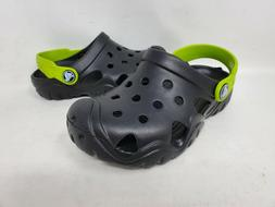 NEW! Crocs Toddlers Swiftwater Slip On Clog Shoes Blk/Gn  #2