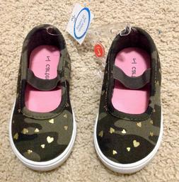 NWT Carter's Toddler Girl Size 5 Green Flats Shoes Gold Hear