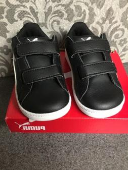 NWT Puma Tennis Shoes Velcro Black & White 5c Toddler Style