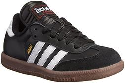 adidas Samba Classic Leather Soccer Shoe ,White/Black/White,