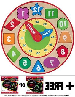 Shape Sorting Clock + FREE Melissa & Doug Scratch Art Mini-P
