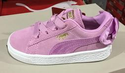 Puma Suede Bow AC Infant Toddler's Suede Casual Shoes Orchid