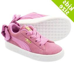 Puma Suede 36732005 Bow Orchid Pink White Infant Toddler Bab