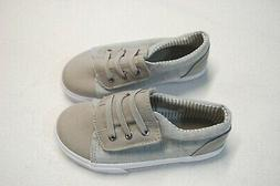 Toddler Boys Tennis Shoes GRAY & BEIGE Canvas EASY FASTEN Fa
