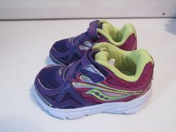 Toddler Girls Saucony Baby Ride 9 Purple Casual Trainers Siz